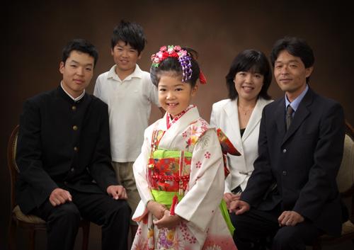 七五三,七歳,女の子,家族写真,親子5人半身