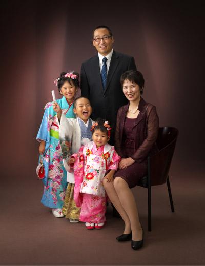 七五三,家族写真,姉弟妹3人一緒の七五三